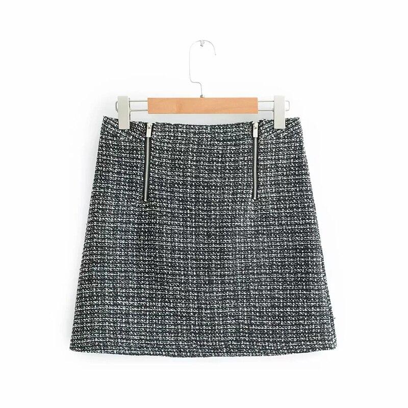 Vee Top vintage femmes tweed jupe chic fermeture éclair conception mini jupes porte-feuille nouveauté une ligne jupe portefeuille sexy faldas mujer 902243