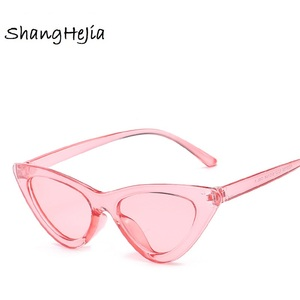 cute sexy retro cat eye sunglasses women small Black Transparent pink 2018 triangle vintage cheap sun glasses red female uv400(China)