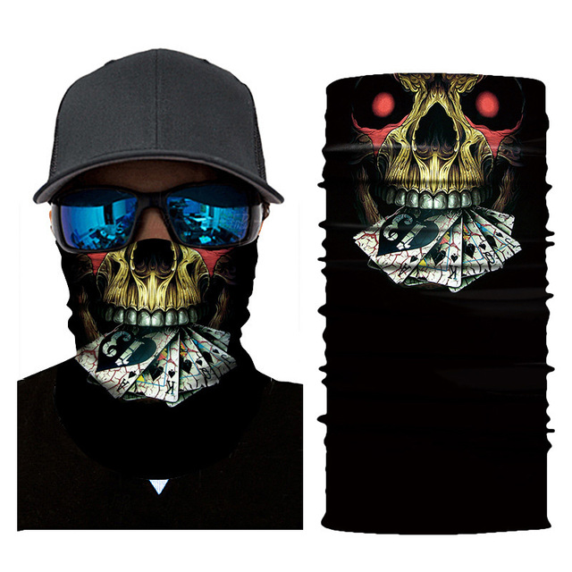 Cycling Headscarf 3D Printing Skull Face Mask Scarf Ghost Dust-proof Snowboard Neck Warmer Face Shield Balaclava Bandana AC0243 5
