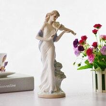 2016 umsatz Moderne heimtextilien, dekoration, keramik statue, spielen die violine mädchen, dame abbildung, figur!