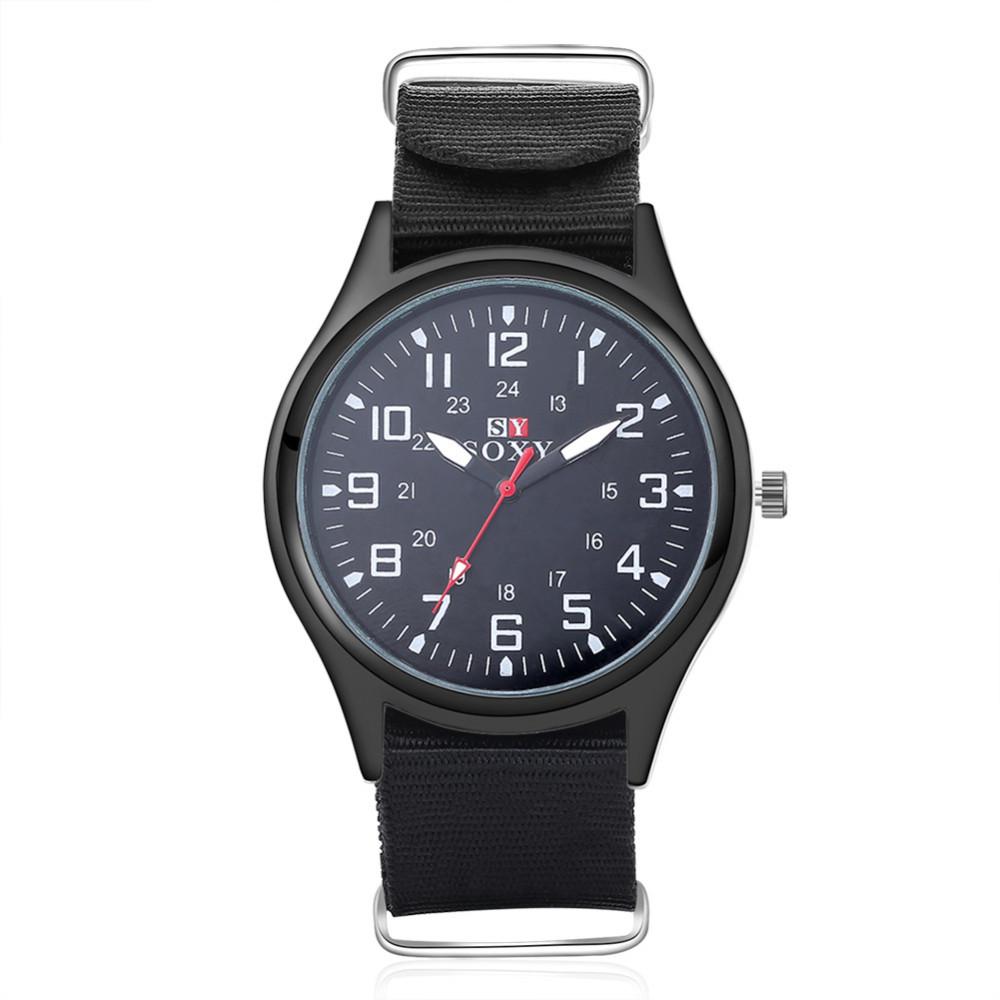 แฟชั่นไนล่อนนาฬิกาผู้ชายยี่ห้อใหม่SOXYกีฬาของผู้ชายควอตซ์ข้อมือทหารบางนาฬิกาอนาล็อกผู้ชา... 4