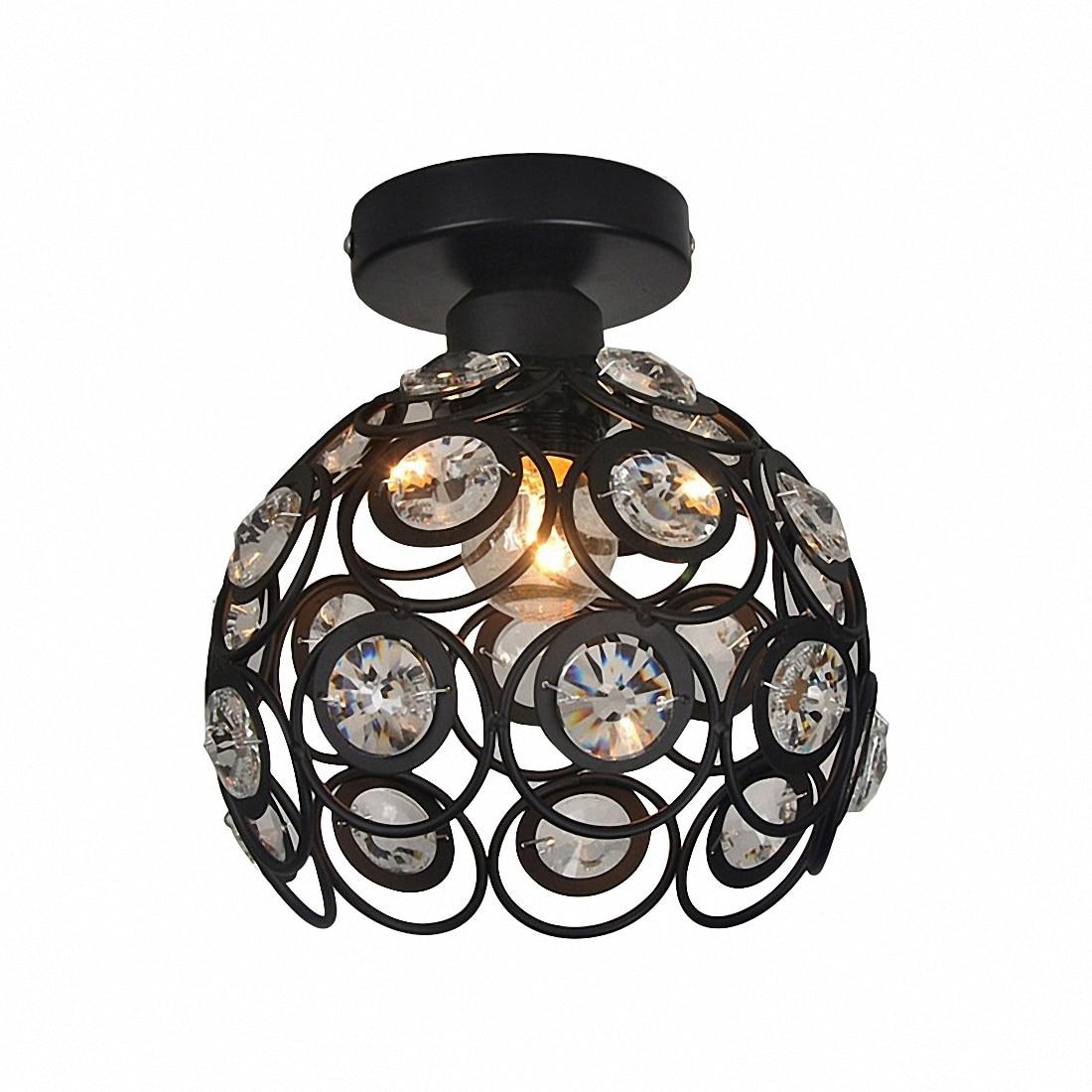 E27 black Creative crystal minimalist ceiling light Single wall ceiling lamp bedroom lamp Single European iron lamp Crystal la