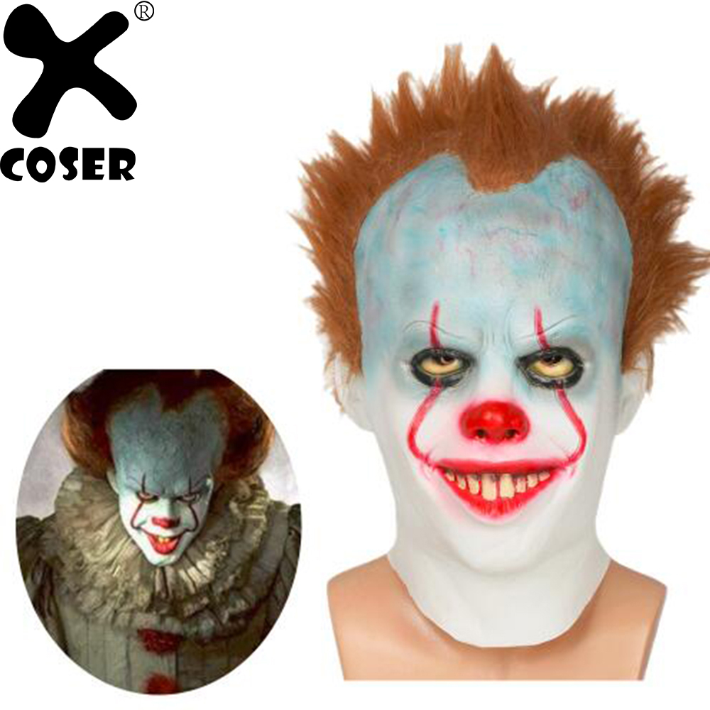 XCOSER Pennywise Mask Latex Full Head Helmet with Wigs Pennywise The Dancing Clown Cosplay Props Halloween Mask For Women Men