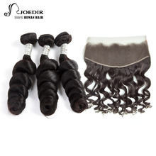 Joedir Pre-colored Malaysian Loose Wave Bundles With Frontal Closure 1 Pack Human Hair Weave 3 Bundles Remy Hair Free Shipping