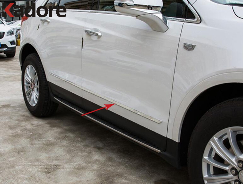 Car Styling Fit For Cadillac XT5 2016 2017 ABS Chrome Side Door Line Garnish Body Trim Decorative Molding Cover Bezel Protector