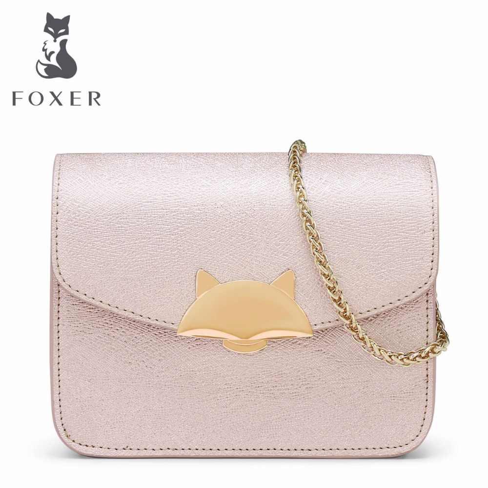 ce22069e593f ... FOXER Для женщин кожаная сумка женская цепочка сумки на плечо красивые  яркие сцепления Crossbody для женщины ...