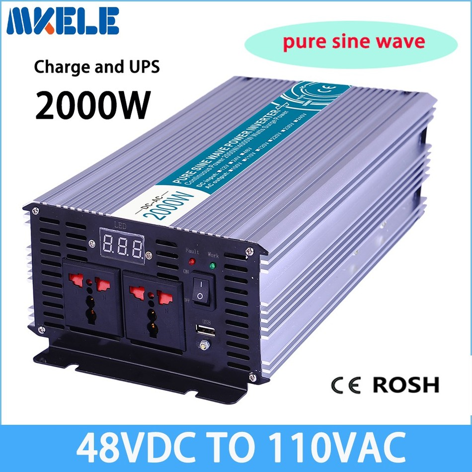 MKP2000-481-C off-grid 48vdc to 110vac 2000w solar inverter pure sine wave voltage converter with charger and UPS p800 481 c pure sine wave 800w soiar iverter off grid ied dispiay iverter dc48v to 110vac with charge and ups