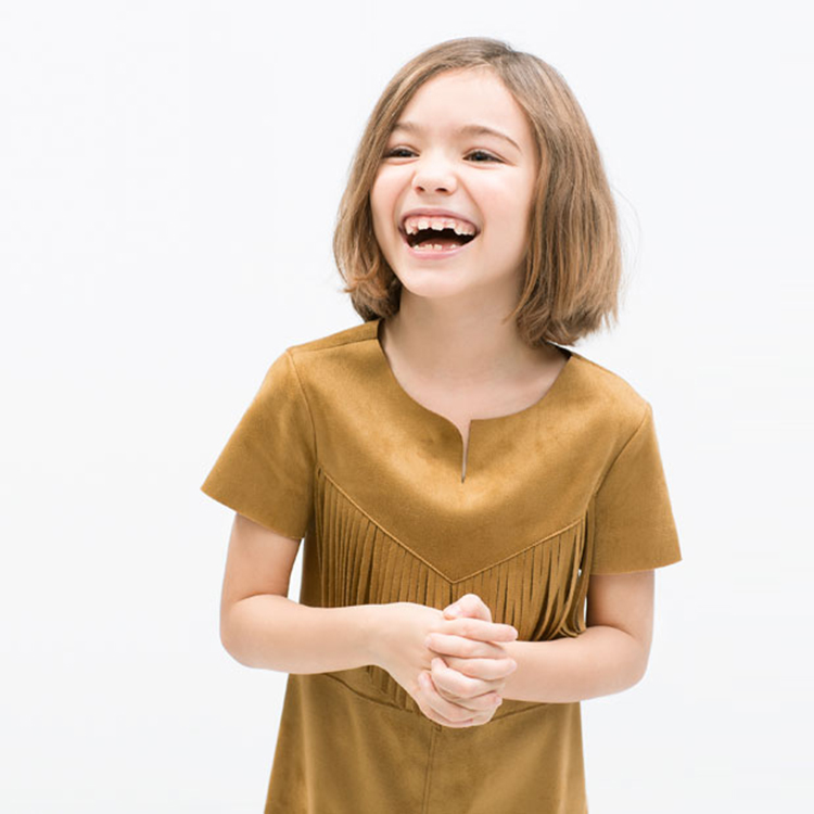 Sweet Kids Girls Suede Leather Tassels Dress Brown Western Dress