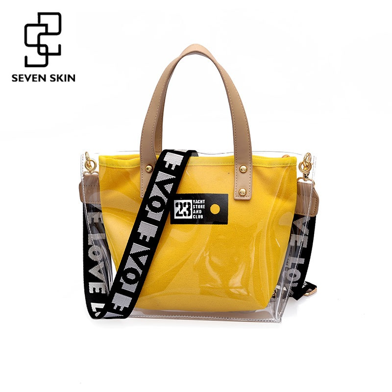 SEVEN SKIN Brand Women Large Capacity PVC Tote Bags New Transparent Designer Shoulder Bag Wide Straps Ladies Handbag bolso mujer