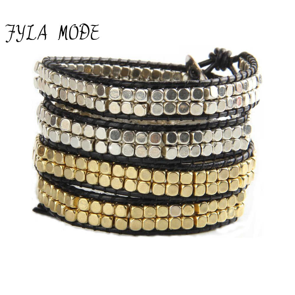 Fyla Mode Fashion Jewelry Handmade Leather Bracelet 4 Wrap Bracelet CCB Gold Silver Plated Square Beads Leather Wrap Bracelet