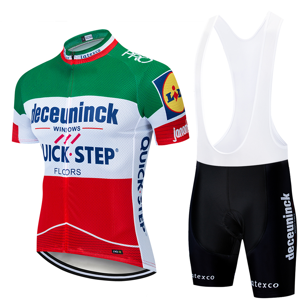 2019 Green Quickstep Cycling Clothing Bike Jersey Quick Dry Bicycle Clothes Mens Summer Team Cycling Jerseys 9D Bike Shorts Set(China)