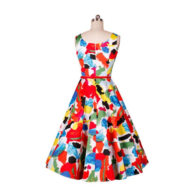 FRISMODE Peony Print Floral Sleeveless 1950s swing Dress Belt 2017 Women Summer Dress Retro Audrey Hepburn Vintage Dresses