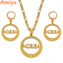 Anniyo MORIBA Island Earrings Necklaces Jewelry set Trendy Gold Color Jewellery Wedding Gift(CAN NOT CUSTOMIZE THE NAME) #036421