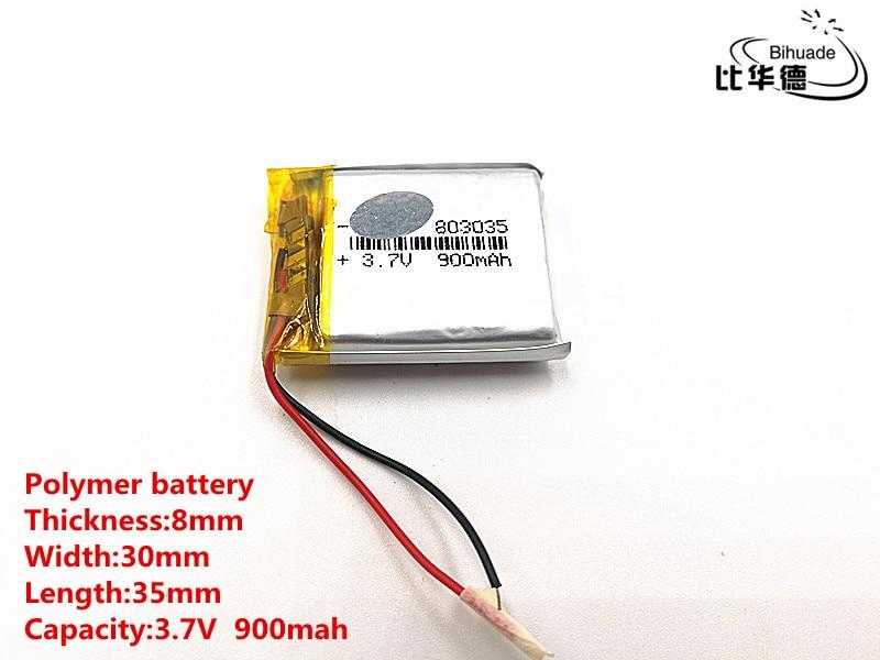 1 Teile/los Gute Qulity 803035 3,7 V 900 Mah 083035 Polymer Lithium-ion/li-ion Batterie Für Spielzeug, Power Bank, Gps, Mp3, Mp4