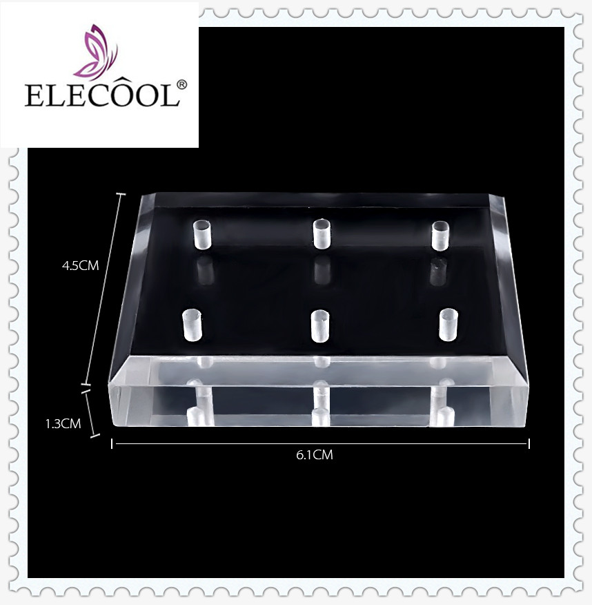 ELECOOL 6 Holes Nail Grinding Stone Head Display Base Nail Drill Bit Holder Exhibition Stand Transparent Nail Art Manicure Tools