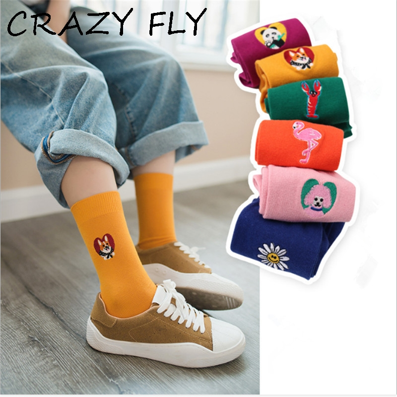 Friendly New Japanese Women Cute Flamingo Panda Shiba Lobster Poodle Sunflower Embroidery Solid Cotton Socks Kawaii Female Puppy Dog Sock Women's Socks & Hosiery Socks