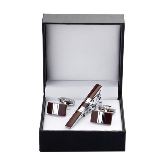 C-MAN Classic styles Luxury Men Cufflink and Tie Clip Set red Tie Clips Set Brand black Business Shirt Cuff Links Bar Set