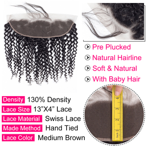 Image 3 - Gabrielle Brazilian Kinky Curly 13x4 Lace Frontal Closure Free/Middle/Three Part 8 22inch Natural Color Remy Human Hair Closure