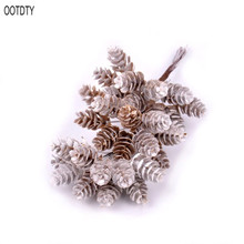 OOTDTY DIY Plant Artificial Pineal Flowers Ornament Fairy Garden House Home Landscape Christmas Decoration Gift