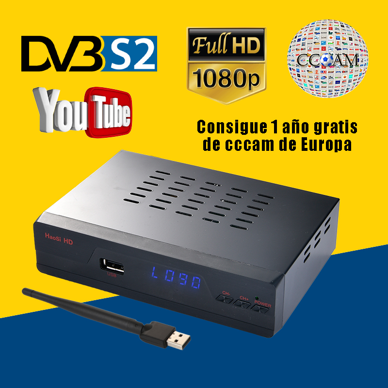 Haosi IPS2 Plus Digital Satellite TV Receiver 1080P Full HD DVB S S2 Youtube Set-top Box With 1-year Europe 5-lines Cccams Free best hd iptv box ips2 plus dvb s2 tv receiver 1 year europe iptv 2500 channels dvb s2 usb wifi set top box satellite receiver