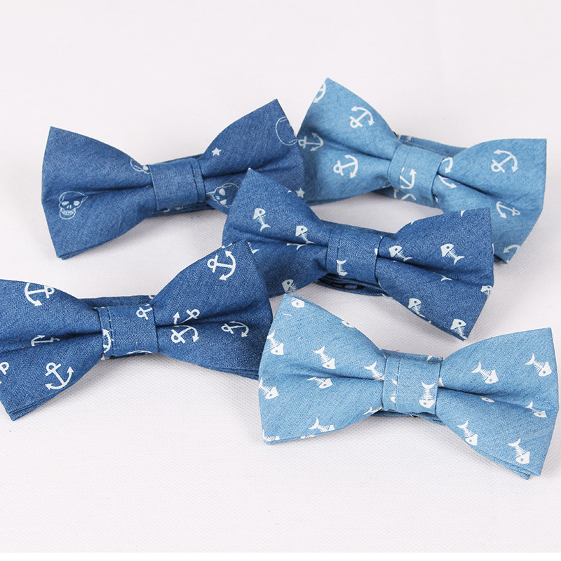 TagerWilen Men's Bowtie Neckwear Bowknot Bowties Cravats Casual Denim Cotton Skull Anchor Floral Bow Tie Wedding Gifts T-126