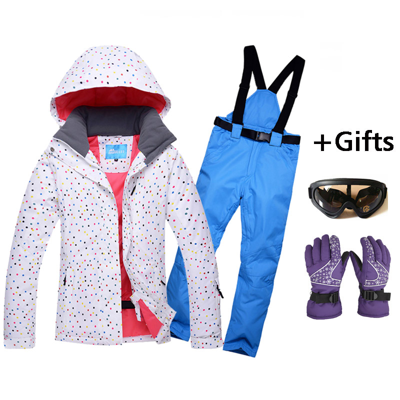 Popular Women white Skiing Jackets And Pants Snowboard sets Thick Warm Waterproof Windproof Winter female Ski suitPopular Women white Skiing Jackets And Pants Snowboard sets Thick Warm Waterproof Windproof Winter female Ski suit