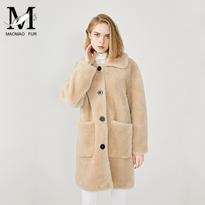 Image 2 - MAOMAOFUR 100% Real Sheep Fur Coat Women New Fashion Warm Thick Long Style Fur Outerwear Ladies Real Wool Coat