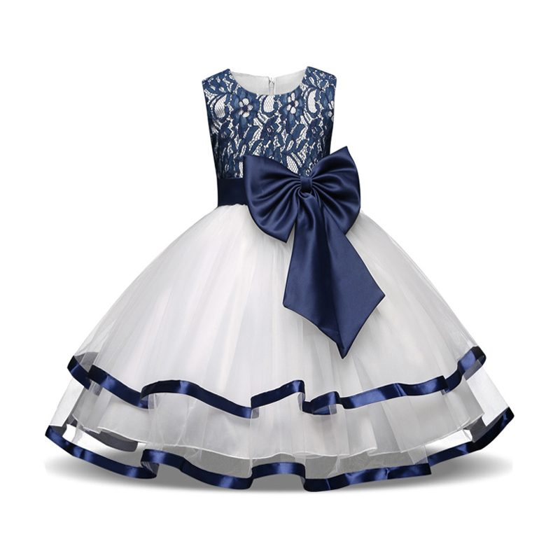 3 4 5 6 7 8 Year Children Princess Dress 2018 New Summer Style Kids Dresses for Wedding Party Lace Flower Bow Girls Clothes new fashion embroidery flower big girls princess dress summer kids dresses for wedding and party baby girl lace dress cute bow