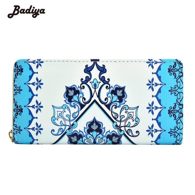 Badiya Fashion Women National Wind Printing PU Leather Long Wallet Ladies Phone Clutch Coin Purse Card Holder Ladies Carteira