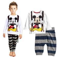 Toddler Boys Pajama Sets Children Pajamas Clothing Set Baby Girls Mickey Cartoon Sleepwear Suit Kids Long Sleeved+Pant 2Pcs Set pajama sets frutto rosso for girls tk117g044 sleepwear kids home suit children clothes