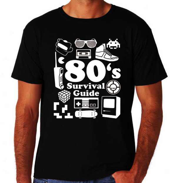 Cheap Crew Neck Men'S Top Tee 80's Survival Guide Funny Retro Eighties Costume Party Music Movie Black T-Shirt Tops Tshirt Homme image