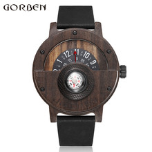 Creative Compass Turntable Number Style Mens Wooden Watch Me