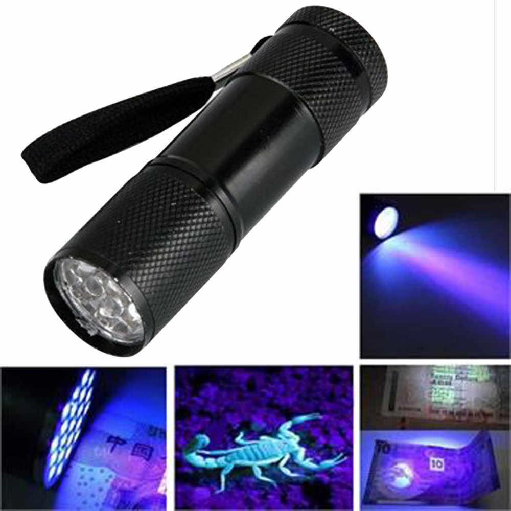 Mini Aluminum UV Ultra Violet 9 LED Flashlight Blacklight AAA Torch Light Lamp Black 84*23mm Super Bright#sw
