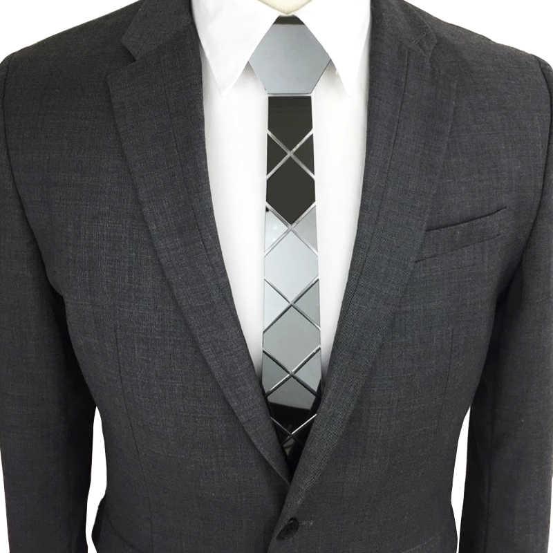 Shining czarny krawat w stylu Vintage moda akrylowe lustro z łbem sześciokątnym krawat metaliczny Bling łączy wszystkie mecz moda akcesoria prezent pudełko