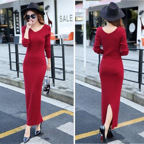 5224955a8e0 Tingyili Knitting vestido largo invierno V Masajeadores de cuello bodycon  vestido de vino rojo gris verde negro manga larga vestido de suéter en  Vestidos de ...