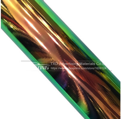 Image 4 - Premium New arrival rainbow holographic chrome film Glossy Mirror Rainbow Holographic Film Rainbow chrome vinyl car wrap-in Car Stickers from Automobiles & Motorcycles