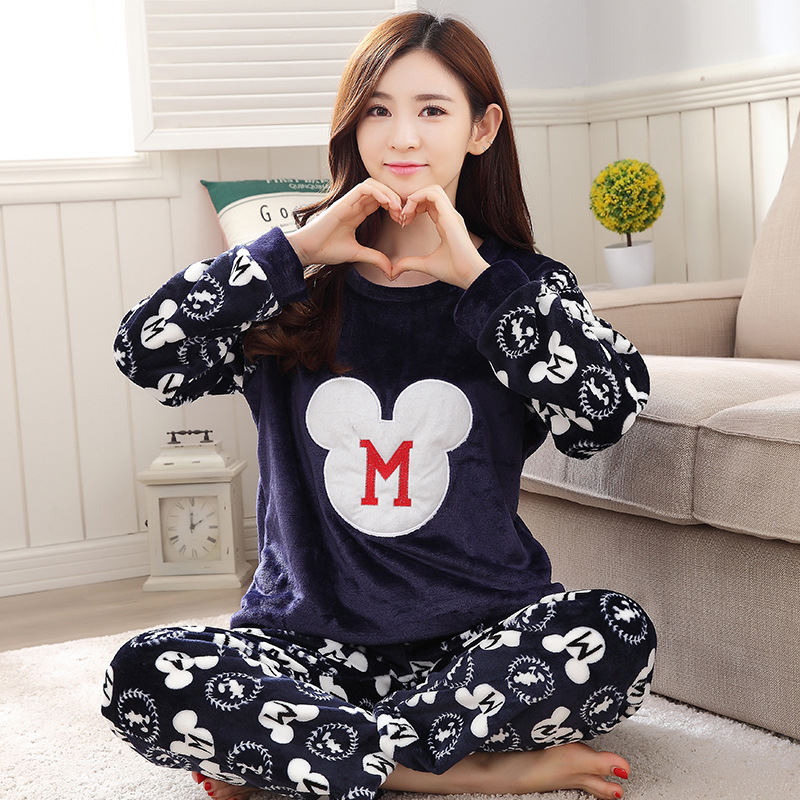 Women's   Pajamas     Sets   Flannel Knit Cotton Fresh Cartoon Cute Casual Soft Sleepwear 2018 Autumn Winter New Fashion Women Home Suit