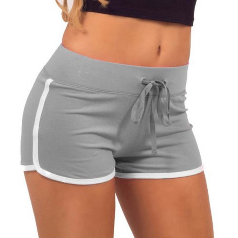 Esportes Fast Drying Drawstring Women   Shorts   Casual Anti Emptied Cotton Contrast Elastic Waist Correndo   Short   Pants 7644