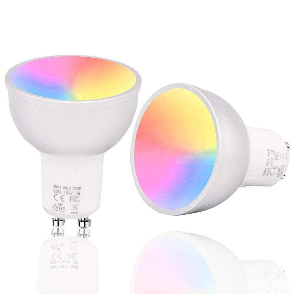 Умная WiFi лампочка 5 Вт лампочки RGB световая лампа чашка Пробуждение огни совместимы с Alexa и google Assistant GU10