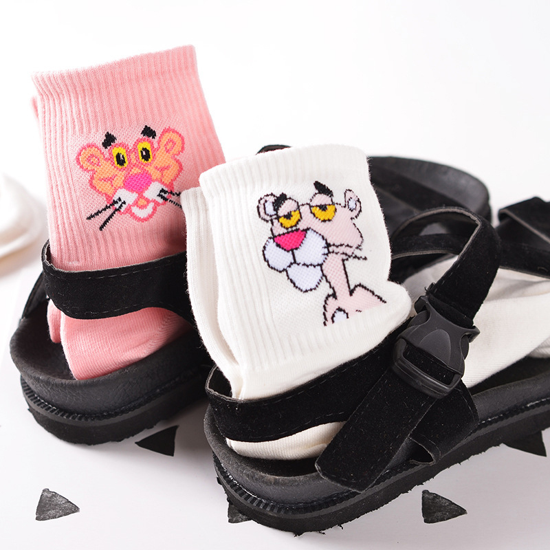 Korean Japanese Cartoon Cotton Cartoon   Socks   Women Couple Harajuku Hiphop Colorful Funny Meias Short Kapron White Pink