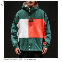 Privathinker 2019 Man Windbreaker Jackets Mens Harajuku Zipper Hat Jackets Coats Male Autumn Patchwork Oversize Casual Jacket