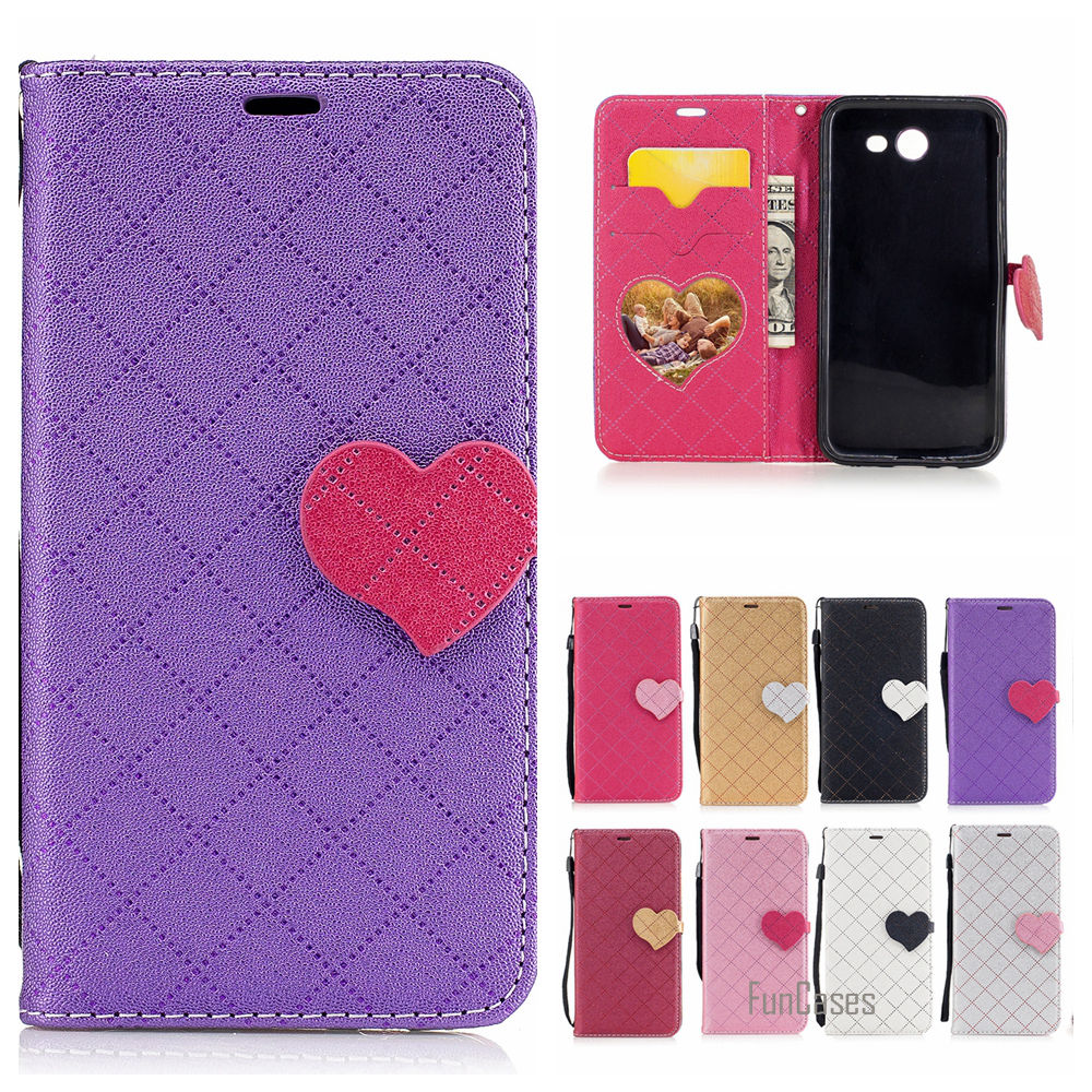 Fashion Heart PU Leather Case For Samsung Galaxy J3 2017 Wallet Flip Cover For Samsung J320 J3 Emerge J3 PrimeTelefoon Hoesje