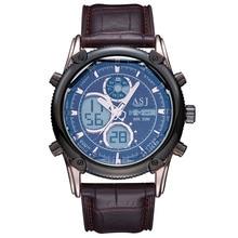 2016 marca de design de moda digital LED man masculino relógio exército esporte militar de pulso de presente de luxo de couro quartz negócios assista b003
