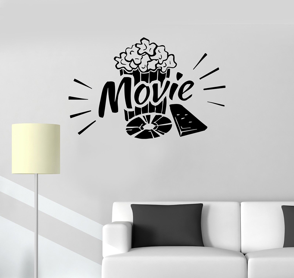 Vinyl Wall Art Sticker Home Cinema Theater Popcorn Film Leisure Room Decal Decor