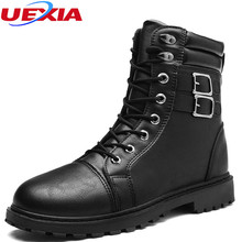UEXIA High-grade Quality Military Factory-direct Men's Ankle Boots Leather Plush Fur Outdoors Dress Shoes Men Lace-up Non-slip