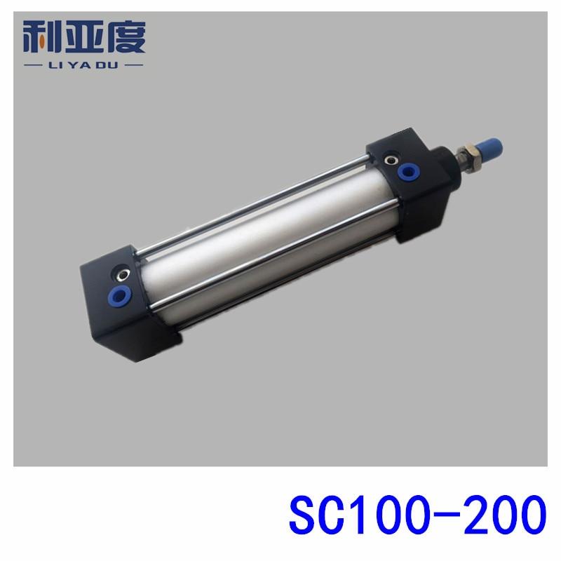 SC100*200 Rod aluminum alloy standard cylinder SC100X200 pneumatic components 100mm Bore 200mm Stroke sc100 100 rod aluminum alloy standard cylinder sc100x100 pneumatic components 100mm bore 100mm stroke