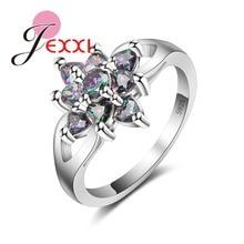 JEXXI Trendy Women Crystal Jewelry Rainbow CZ 925 Sterling Silver Rings For Bridal Wedding Bijoux Accessory Size 6/7/8/91/10