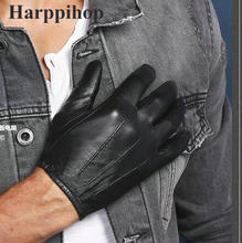 цены 2016 new free shipping 100% Sheep Skin Touch Screen Men Gloves Classic Style Pure Genuine Leather Gloves For Winter Men's Glove