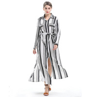 Spring Women European Zebra Black White Striped Plus Long Shirt High Waist Band Bow Tie Sexy