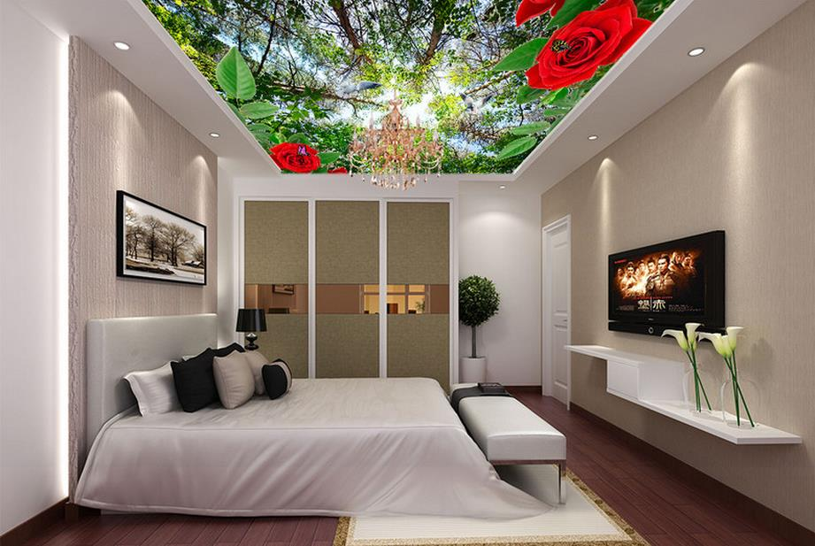 custom 3d ceiling mural Roses Flowers Trees 3d ceiling wallpapers for living room 3d ceiling murals photo wallpapers flame trees of thika